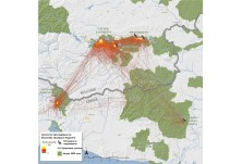 On the map is movements of the three adult Griffon Vultures marked last year.